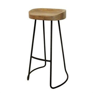 Orson Bar Stool - 76cm Seat height Black frame wood seat mad chair company