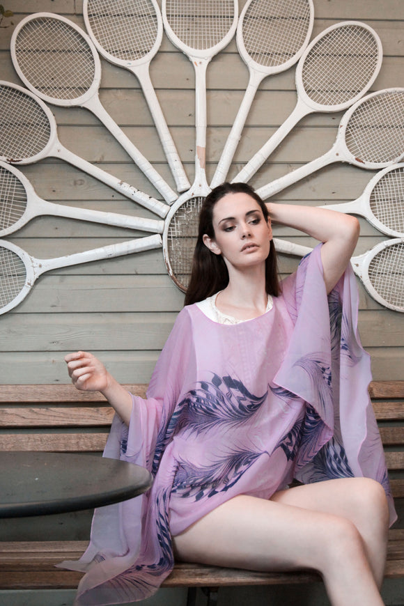 Flamingo Feathers - 100% Silk Georgette Pancho by James Mouland