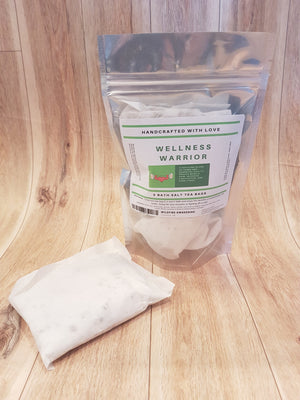 Wellness Warrior Bath Tea, 3 bath salt teabags/pouch