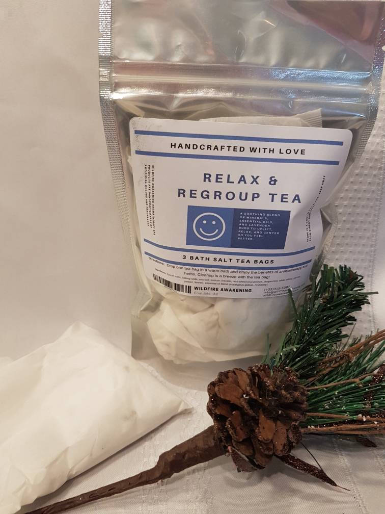 Relax & Regroup Bath Tea, bath salts in a bag for relaxation and grounding