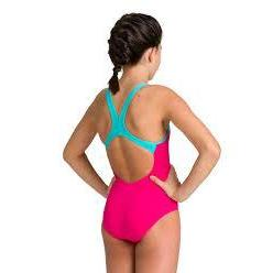 Arena Training Girl's Biglogo Swim Pro Back - Freak Rose/Mint-TechSuits.ca
