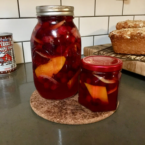 Canned pickled cranberries with cider