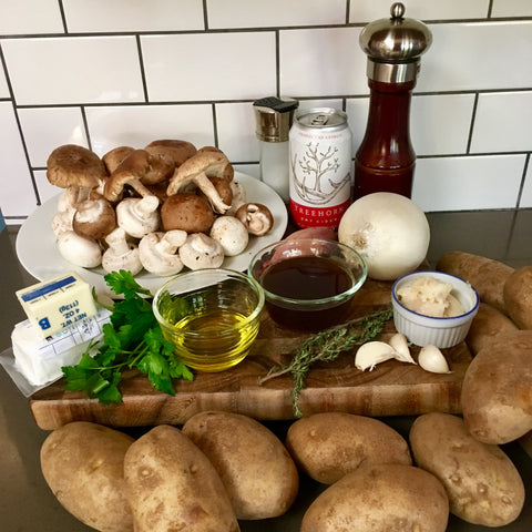 Ingredients for mushroom potato skins from Taste of Treehorn