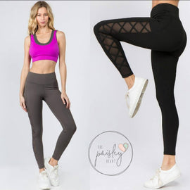 "High Waisted with  ""Lace Up"" Mesh Detail Leggings"