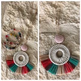 Multi Colored Fan Necklace