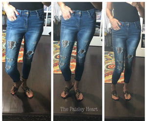 Judy Blue Denim: Distressed Leopard
