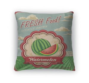 Throw Pillow, Retro Fresh Food Poster Design