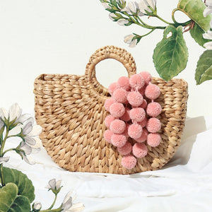 Anaya Water Hyacinth Straw Bag - with Pink Blush Tiered Pom-poms