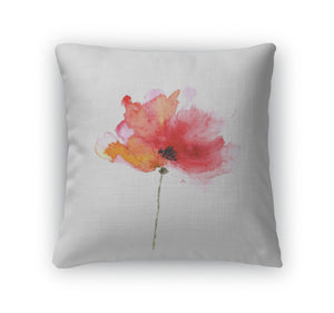 Throw Pillow, Red Flower Watercolor Floral Illustration Poppy