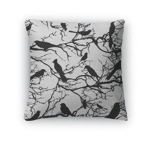 Throw Pillow, Pattern Tree With Birds Nature