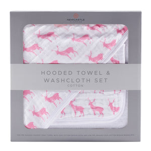 Pink Deer Hooded Towel and Washcloth Set