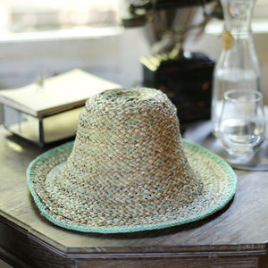 Balinese Pecatu Bucket Straw Hat, in Cool Mint