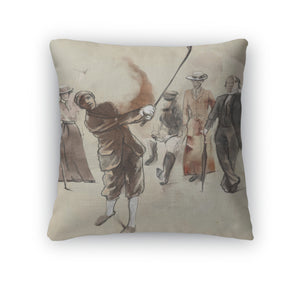 Throw Pillow, Golf Player An Hand Drawn And Painted Illustration