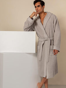 Men's Gray Turkish Cotton Loose Cut Terry Bathrobe