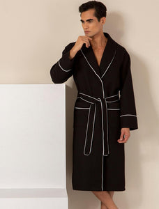 Men's Black Luxury Long Waffle Bathrobe