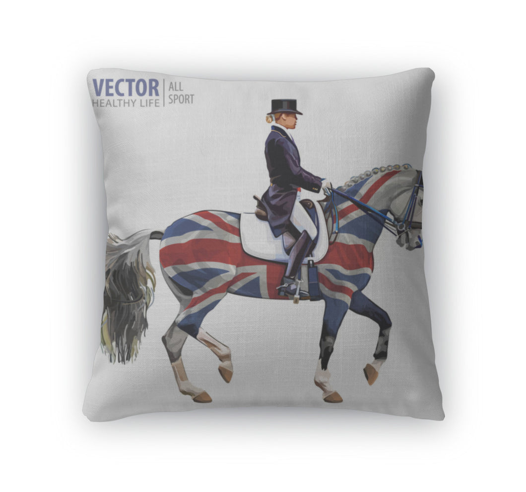 Throw Pillow, Equestrian Sport Horsewoman Jockey In Uniform Riding Horse Outdoors Dressage