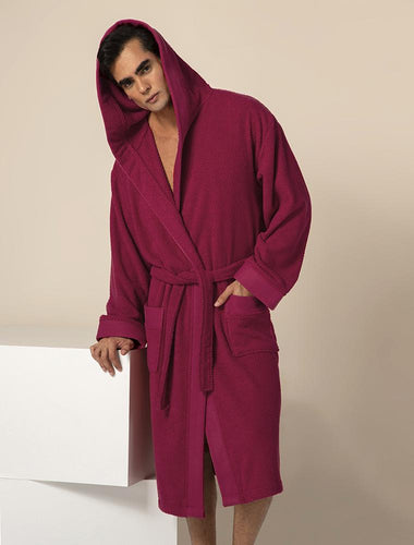 Men's Burgundy Turkish Cotton Loose Cut Terry Bathrobe