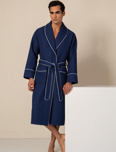 Men's Navy Luxury Long Waffle Bathrobe