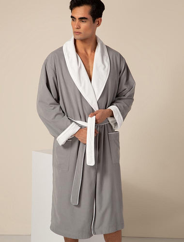 Men's Gray Plush Lined Double Layer Microfiber Robe