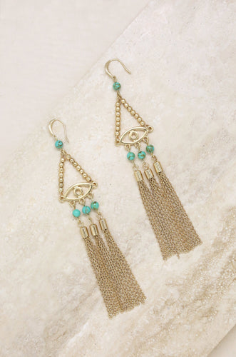 All Eyes On Me Earrings in Turquoise and Gold
