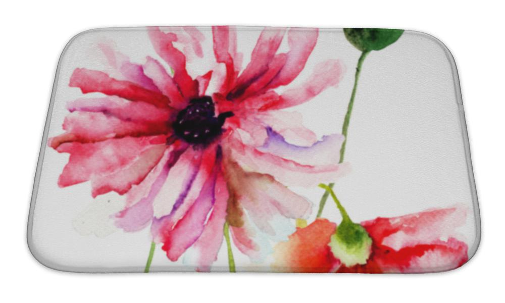 Bath Mat, Colorful Summer Illustration Of Poppy Flowers