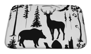 Bath Mat, Woodland Plants And Animals Set