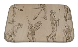 Bath Mat, Golf And Golfers Hand Drawn S