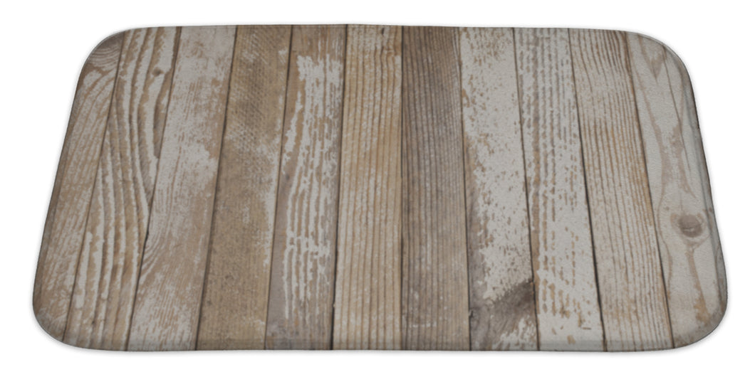 Image Of Old Wood Painted White Bath Mat, Microfiber, Foam With Non Skid Backing, 34