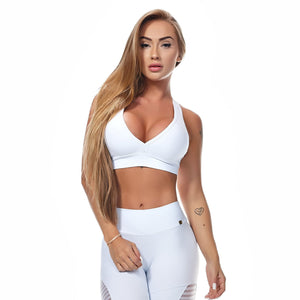 Helo Racerback V-Neck Athletic Sports Bra - White