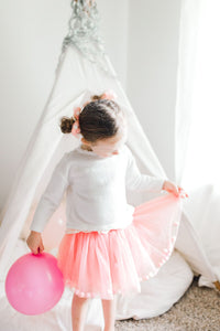 Dusty Rose Pink Tutu Skirt With Pom Pom Balls and Bow Hair Tie-2Pcs Set