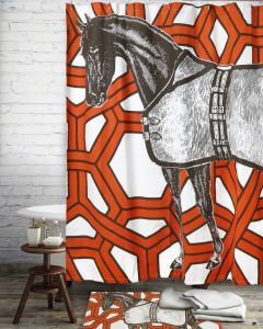 "Thoroughbred Geo Shower Curtain 72""x72"""