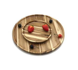 "2 Medium-sized Acacia platters for Pizza and Salad party serving set (14"" and 8"" round)  WL-555043"
