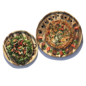 "2 Large-sized Acacia platters for Pizza and Salad party serving set (16"" and 12"" round) WL-555047"