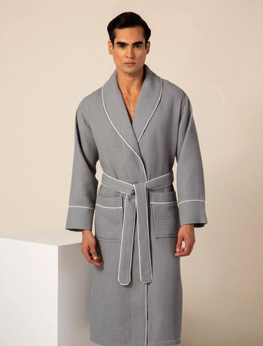 Men's Gray Luxury Long Waffle Bathrobe
