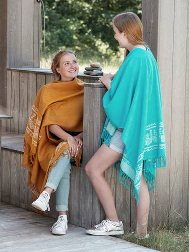 Women's Aqua Blue Poncho