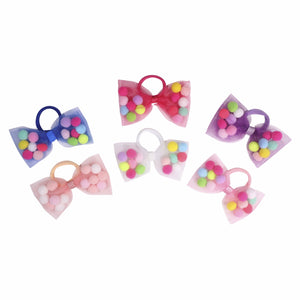 "Bow Pom Pom Hair Ties - 4"" Bow. Soft Ponytail Holders with Strong Grip"