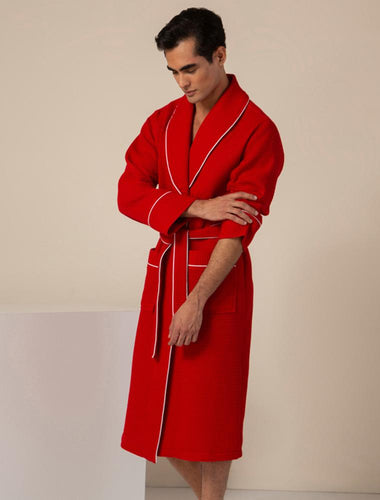 Men's Red Luxury Long Waffle Bathrobe