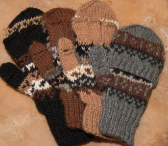 Deluxe Hand Knit Hooded Kids Alpaca Gloves (