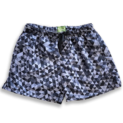Classic Geometrical Grey Sustainable Swim Trunks Made From Upcycled PET Bottles