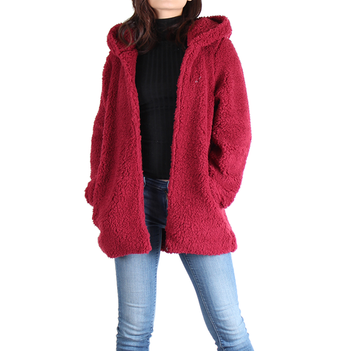 Burgundy Sherpa Zipper Jacket - No Zipper