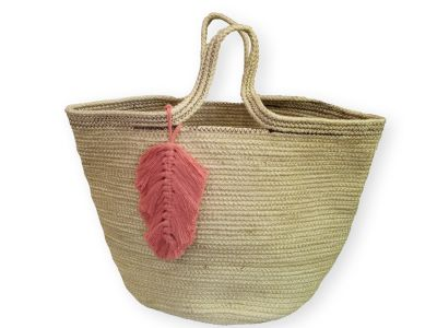 Beach Bag with handmade leaf tassel