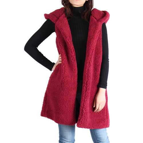 Burgundy Sherpa Open Front Hooded Sleeveless Jacket