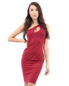Eden Asymmetric Neckline Mini Dress - Red