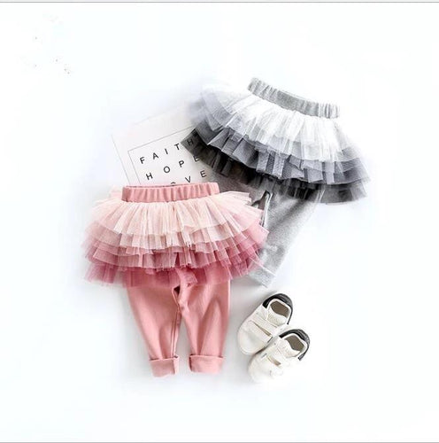 Baby and Toddler Cotton Leggings With Tutu Skirt (Pink or Gray)