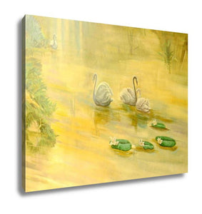 Gallery Wrapped Canvas, Watercolor Swans Hand Painted