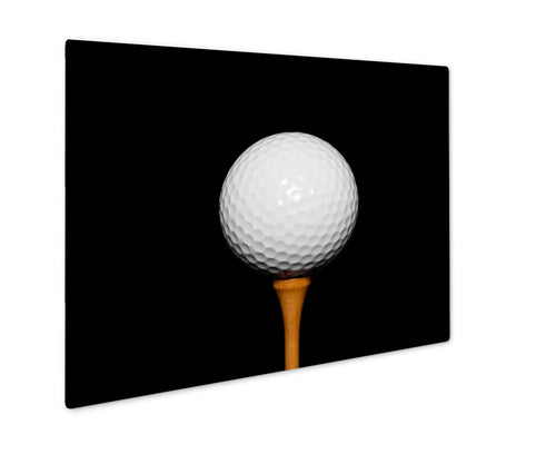 Metal Panel Print, Golf Ball On Teepeg On Black