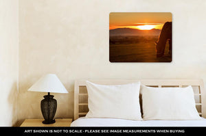 Metal Panel Print, Horse Silhouette At Sunset