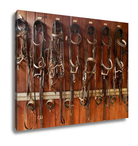 Gallery Wrapped Canvas, Horse Riders Complements Rigs Reins Leather Over Wood