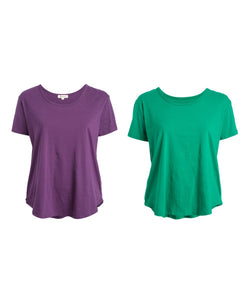 Urban Diction Plus Size Green & Purple Round-Hem Scoop Neck Top