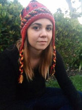 Knit alpaca Chullos with Braids - Colorful
